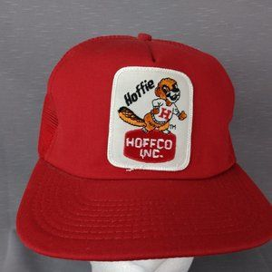 Red Beaver Patch Snapback Hat Trucker 90s Made USA